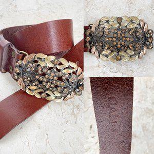CAbi Brown Leather Belt S Gold Rhinestone Buckle